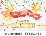 beautiful festive carnival mask ... | Shutterstock .eps vector #555361453