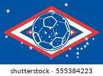 russia flag and soccer ball... | Shutterstock .eps vector #555384223