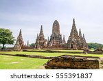 wat chaiwatthanaram is ancient... | Shutterstock . vector #555391837