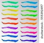 set of colored brush strokes of ... | Shutterstock .eps vector #555392497