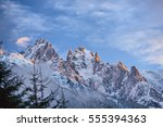 Stock photo sunset in chamonix france 555394363