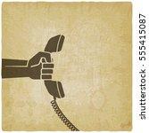 hand with telephone handset....   Shutterstock .eps vector #555415087