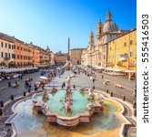 Piazza Navona, Rome, Italy, Europe. Rome ancient stadium for athletic contests (Stadium of Domitian). Rome Navona Square is one of the best known landmarks of Italy and Europe