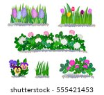 Spring Flowers And Grass Icons...
