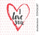 valentines day gift card with...   Shutterstock .eps vector #555426187