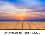 empty wooden table top with... | Shutterstock . vector #555463273