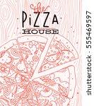 poster lettering the pizza...   Shutterstock .eps vector #555469597