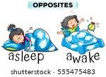 opposite words for asleep and... | Shutterstock .eps vector #555475483