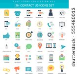 contact us color flat icon set.... | Shutterstock . vector #555480013