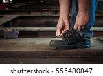 safety boots to work in... | Shutterstock . vector #555480847