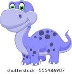 cute dinosaur cartoon smiling | Shutterstock .eps vector #555486907