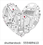 the heart of the favorite tools ... | Shutterstock .eps vector #555489613