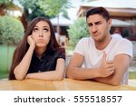 woman and man on a boring bad...   Shutterstock . vector #555518557