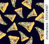 pattern of pizza. vector.  | Shutterstock .eps vector #555519487