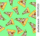 pattern of pizza. vector.  | Shutterstock .eps vector #555519523