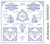 vector set of vintage elements... | Shutterstock .eps vector #555549337