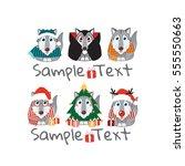 kawaii husky  malamute  wolf...   Shutterstock .eps vector #555550663