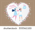 love invitation card valentine... | Shutterstock .eps vector #555561103