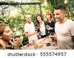 happy friends having fun... | Shutterstock . vector #555574957