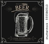 hand drawn beer isolated on... | Shutterstock .eps vector #555580513