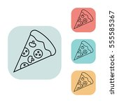 pizza slice icon  outline thin...