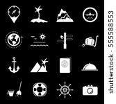 tourism set icons  earth  sea ...