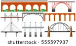 different design of bridges... | Shutterstock .eps vector #555597937