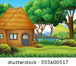wood cabin in the forest... | Shutterstock .eps vector #555600517