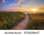 Path To A Sunset Beach. Windin...