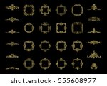 gold vintage decor elements and ... | Shutterstock .eps vector #555608977