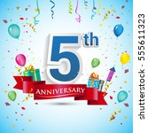5th anniversary celebration... | Shutterstock .eps vector #555611323