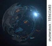 futuristic globalization... | Shutterstock .eps vector #555611683
