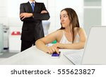 lazy female employee playing...   Shutterstock . vector #555623827