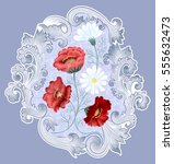 pattern with red poppies  white ... | Shutterstock . vector #555632473