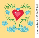 heart forget me not | Shutterstock .eps vector #555632947