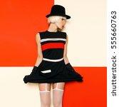 blonde retro style cabaret... | Shutterstock . vector #555660763