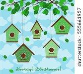 hooray  birdhouses  five cute... | Shutterstock .eps vector #555661957