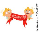 couple cupid with red banner... | Shutterstock .eps vector #555667567