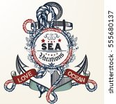 anchor drawn in vintage style... | Shutterstock .eps vector #555680137