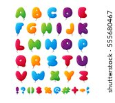 balloon alphabet vector set. | Shutterstock .eps vector #555680467