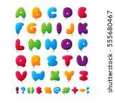 balloon alphabet vector set. | Shutterstock .eps vector #555680467