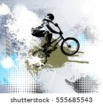 biker  sport illustration ... | Shutterstock .eps vector #555685543