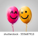 pair of happy balloons in love. ... | Shutterstock .eps vector #555687913
