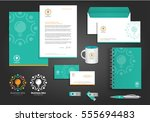 green abstract vector logos... | Shutterstock .eps vector #555694483