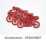 3 motorcycles racing side view... | Shutterstock .eps vector #555694807