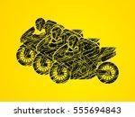 3 motorcycles racing side view... | Shutterstock .eps vector #555694843
