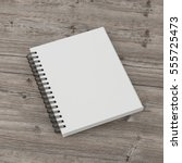 white spiral notepad isolated... | Shutterstock . vector #555725473