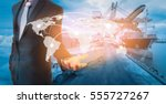 global network coverage world... | Shutterstock . vector #555727267