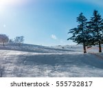 scenery of a ski resort on a...   Shutterstock . vector #555732817