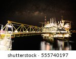 offshore construction platform... | Shutterstock . vector #555740197